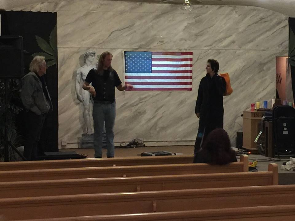 The Cast and Crew of TLT setting up for a showing of the RHPS at the First Church of Cannibas
