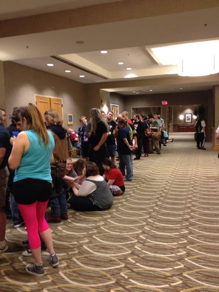 Fans waiting in line at Gen Con to see TLT perform.