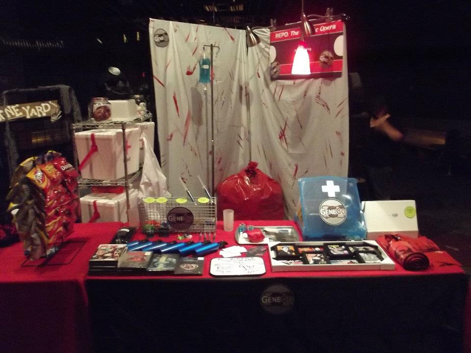 REPO! Swag Table at the RHPS double feature show at the Irving, 2012